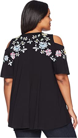 Karen Kane Plus - Plus Size Printed Cold Shoulder Top