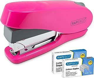 Rapesco NEW Luna - Grapadora de esfuerzo reducido, 50 hojas de capacidad y 2 cajas de grapas de 24/8mm y 24/6mm, rosa intenso