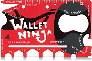 Wallet Ninja- 18 in 1 Credit Card Sized Multitool (#1 Best Selling in the World) (Red)