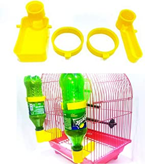 Bird Cage Feeder Drinker Cups for Any Bottle Use with Free Bottle Holder Rings Yellow