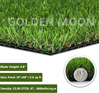 GOLDEN MOON Realistic Artificial Grass Patch 5-Tone Mowed-Lawn Touch Outdoor Turf Rug 0.8in(20mm) Blade Height Series Green 20
