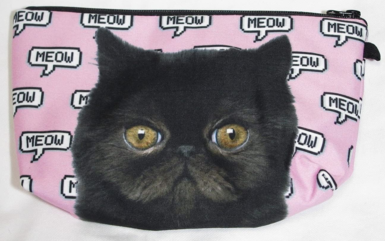 時間とともにアパートにんじん【560kick】 黒猫 エキゾチック ショートヘア 柄 ポーチ メイクグッズ 収納 ぶさかわ