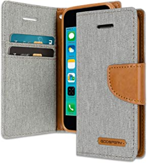 iPhone 5C Wallet Case with Free 6 Gifts [Shockproof] GOOSPERY Canvas Diary Ver.Magnetic [Denim Material] Card Holder with Kickstand Flip Cover for Apple iPhone5C - Gray, IP5C-CAN/GF-GRY