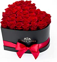 - Real Preserved Roses in a Heart Shaped Box - Handmade Long Lasting Flowers - Rose Box - Luxury Gift for Her Birthday, Anniversary, Valentine's Day (Red)