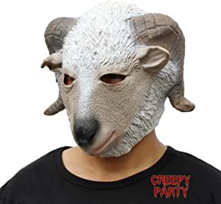 CreepyParty Deluxe Novelty Halloween Costume Party Latex Animal Head Mask Goat White
