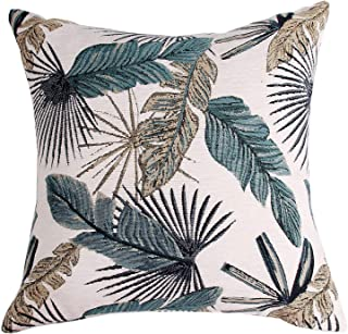 Yeiotsy Party Decoration, Tropical Leaf Throw Pillow Cover for Sofa Decorative Pillow Case Jacquard Chenille (Teal, 18 x 18 Inches)