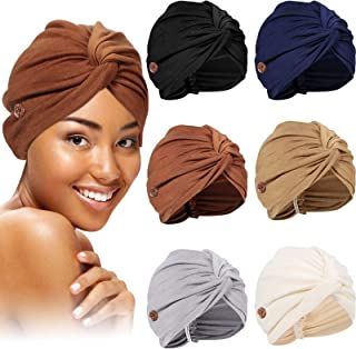 6 Pieces Bouffant Caps with Buttons Turban Sleep Hat Headwrap Head Scarf