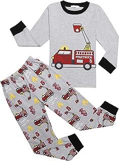 Pijama de manga larga de algodón para niños, juego de dos piezas, diseño de dinosaurios, tiburón, cielo estrellado, coche de bomberos,