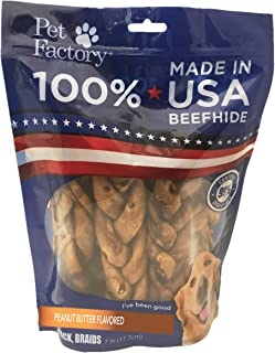 Pet Factory 78128 Beefhide | Dog Chews, 99% Digestive, Rawhides to Keep Dogs Busy While Enjoying, 100% Natural, Peanut Butter Flavored Braids, Pack of 6 in 7-8