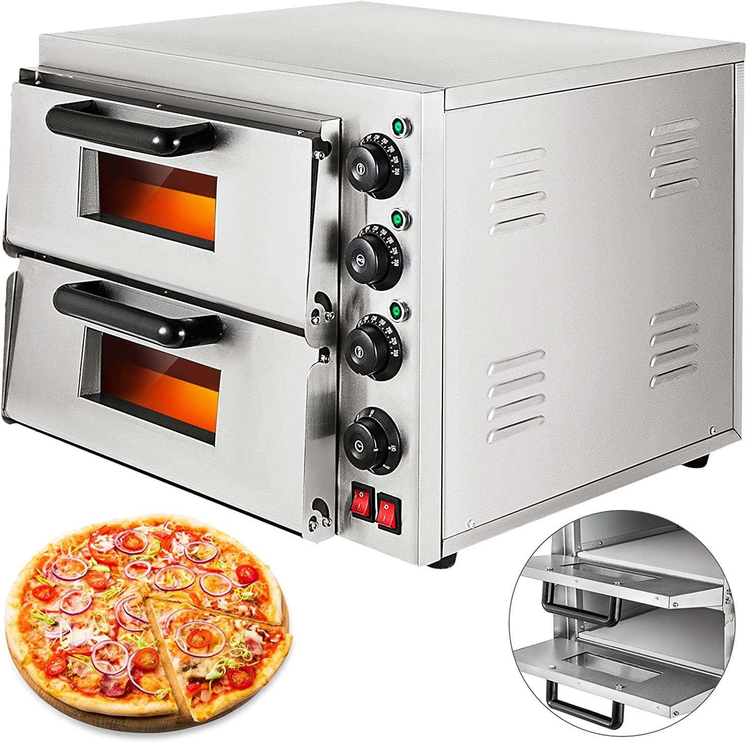 VEVOR 14'' Commercial Pizza Oven Double New products world's Minneapolis Mall highest quality popular Ov Steel Stainless