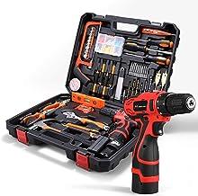 Gesponserte Anzeige – HOH-Tech Akku-Bohrhammer Werkzeugsatz, 60-teiliges Haushalts-Elektrowerkzeug-Bohrset mit 16,8V Lithi...