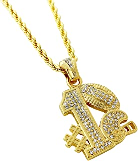 Iced Out #1 Football Team Pendant Necklace with 24