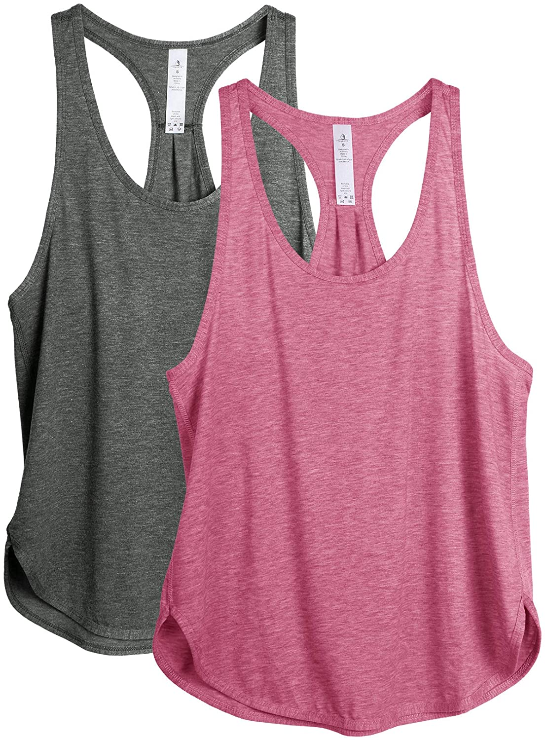 icyzone Workout Tank Tops for Women - Athletic Yoga Tops, Racerback Running Tank Top(Pack of 2) : Sports & Outdoors