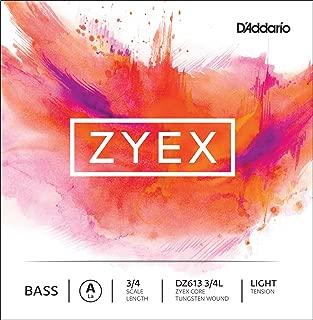 D'Addario Zyex Bass Single A String, 3/4 Scale, Light Tension