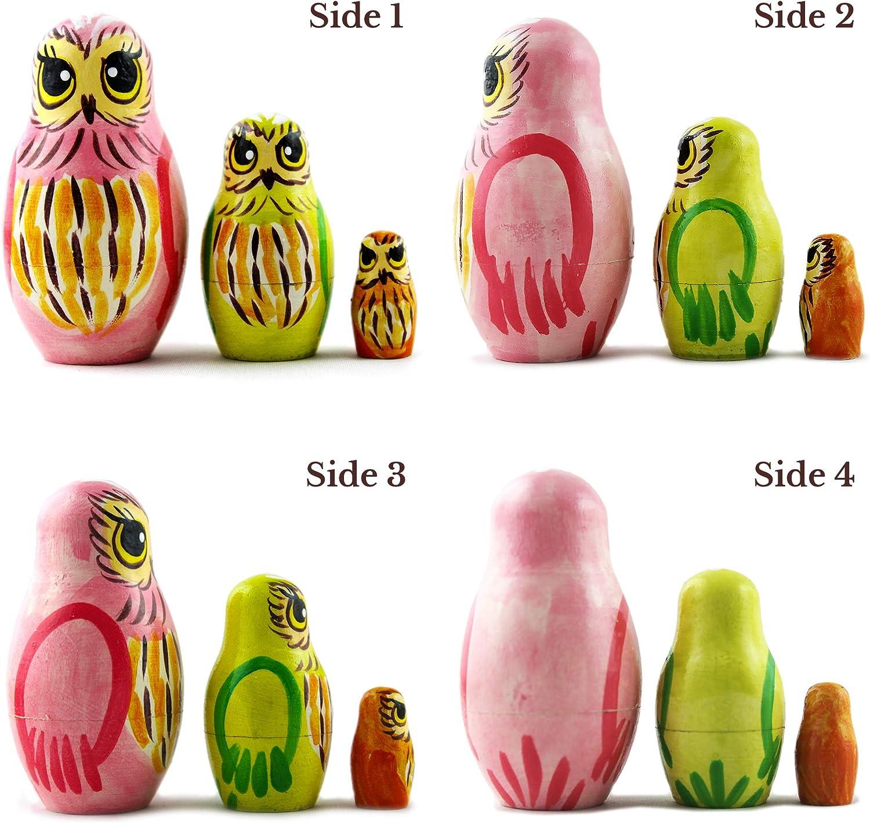 Owl Art Toy Wood Owl Statue Medium Size Set 5 Pcs Owl Gifts Decor Figurines Russian Nesting Dolls Owl Decorations for Home Shelf Decor Accents