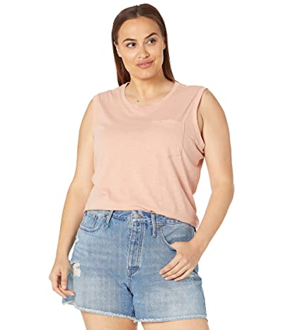 Madewell Plus Whisper Cotton Crew Neck Pocket Muscle Tank