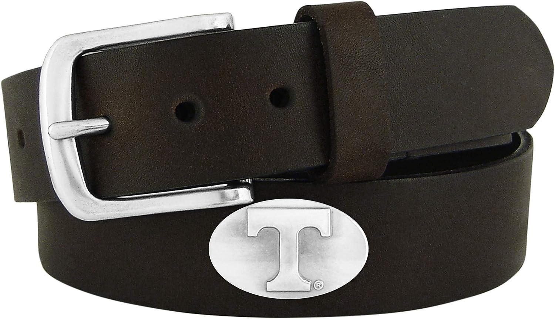 ZEP-PRO Men's NCAA Tennessee Volunteers Leather Concho Belt, Bro