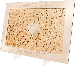 Cornice Drop Box in argente libro nuziale degli ospiti personalizzato con cuori