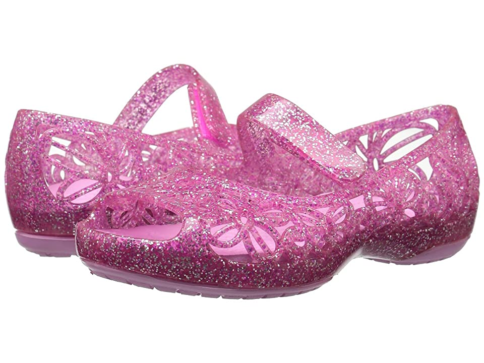 Crocs Kids Isabella Glitter Jelly Flat PS (Toddler/Little Kid) (Vibrant Pink) Girls Shoes