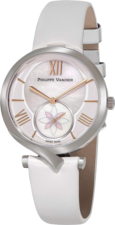 Philippe Vandier Reloj Mujer Swiss Made Amara Steel Movimiento Cuarzo Suizo Correa de Seda Satinada y Cristal Mineral Curvado de Alta Resistencia