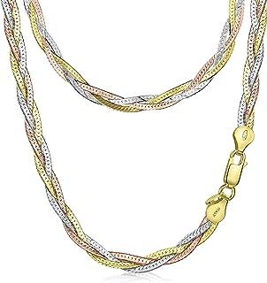 Amberta Collar para Mujer en Plata de Ley 925 Eslabon Herringbone 5 mm Longitud 45 cm