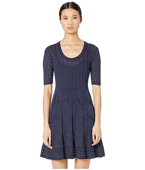 M Missoni Short Sleeve U-Neck Short Dress in Zigzag Stitch