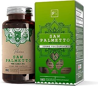 FS Saw Palmetto 320mg con Zinc | 180 Capsulas Veganas | Pastillas para la Salud de la Prostata, del Pelo y Alta Resistencia | Serenoa Repens Prostate Suplementos para Hormonal Masculina | Sin Gluten