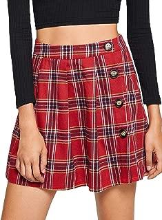 WDIRARA Mini Falda Plisada de Cintura Alta a Cuadros, Informal, para Mujer