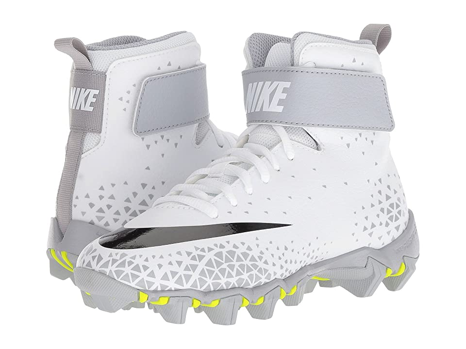 Nike Kids Force Savage Shark Football (Toddler/Little Kid/Big Kid) (White/Black/Wolf Grey) Boys Shoes