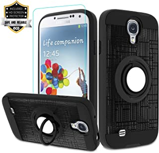 Galaxy S4 Case, Galaxy S4 Phone Case with HD Screen Protector,Atump 360 Degree Rotating Ring Holder Kickstand Bracket Cover Phone Case for Samsung Galaxy S4 Black