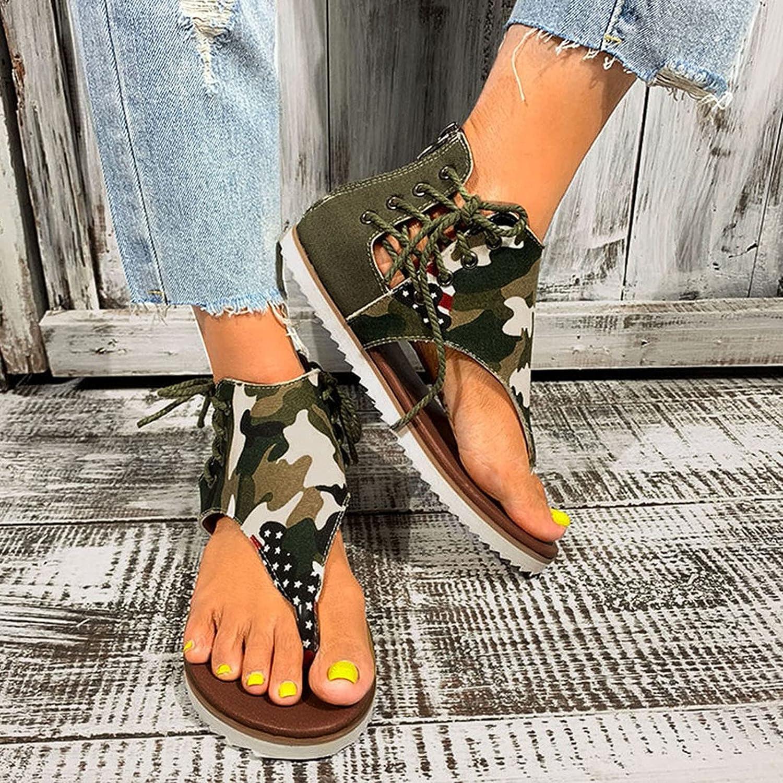 Toeava Gladiator Sandals for Women, Summer Casual Flats Sandals Open Toe Post Back Zipper Vintage Bohemian Roman Shoes