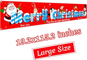 Merry Christmas Banner Decorations - Quarantine Xmas Holiday Door Yard Sign Backdrop Party Idea Decor Supplies(Large Size)