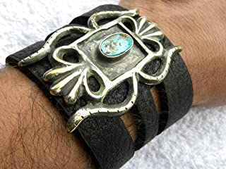 Back to listings Black genuine Buffalo Bison Leather Bracelet large Native Indian Head chief pendant motorcycle biker customized to your wrist size cuf