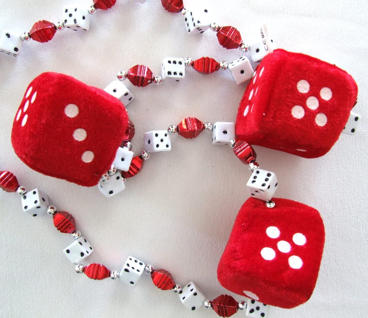 New Orleans Red Fuzzy Dice Craps Mardi Gras Beads Necklace