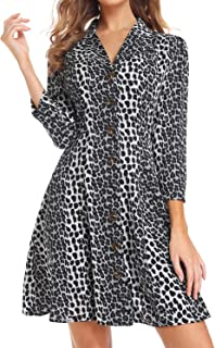 Womens V Neck Leopard Casual Print Dress 3/4 Sleeve Button Down Dresses (Grey, Large)