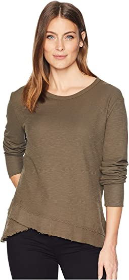 Cotton Flat Back Slub Thermal Long Sleeve Crew with Crossover Hem