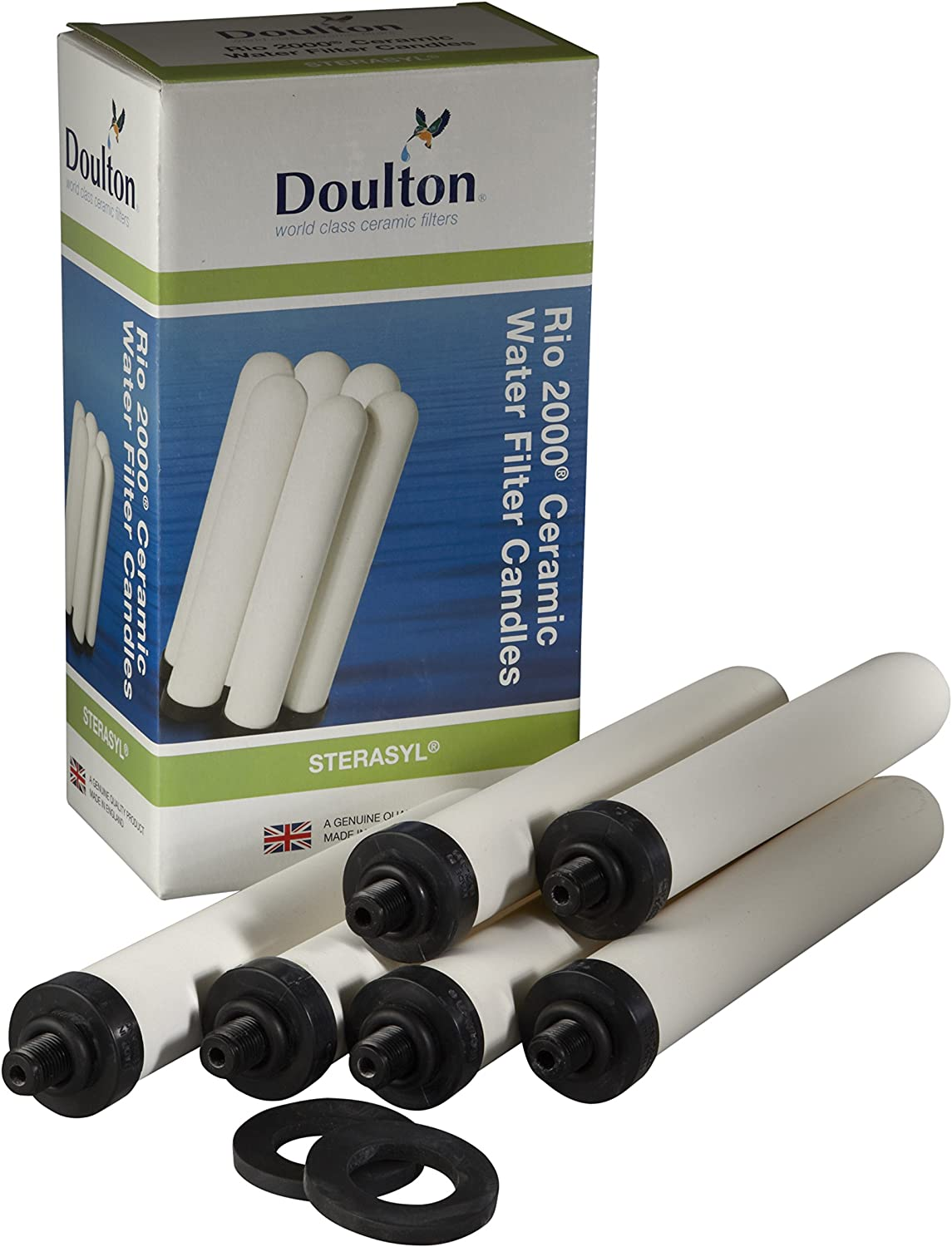 Doulton W9120145 6 x Bespoke Sterasyl Ceramic Drinking Water Candle Filters 8 inch for High Flow Big bluee Housing, White