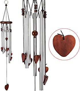 xxschy Loving Heart Wind Chimes,24 Inches Pure Hand-made Metal Musical Wind Bells with 5 Silver Aluminum Tubes, Mobile Wind Catcher Romantic Wind-bell for Home, Party,Festival Decor, Garden Decoration