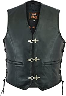 CMT Sports Men's Finest Genuine NAPA Leather Biker Waistcoat Classic Cut Motorcycle Motorbike Gilet Biker Vest