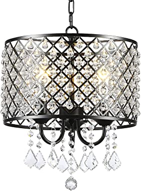 Berliget 3-Lights Black Finshed Adjustable Chain Industrial Living Room Round Metal Crystal Shade Pendant Lighting Ceiling Fixture Chandelier, Hanging Light for Kitchen, Dining Room, Bar, Restaurant