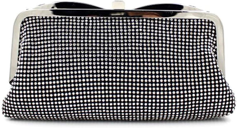 HMaking Soft Clutch Rhinestone Studded Clasp Soft Handbag Evening Bag