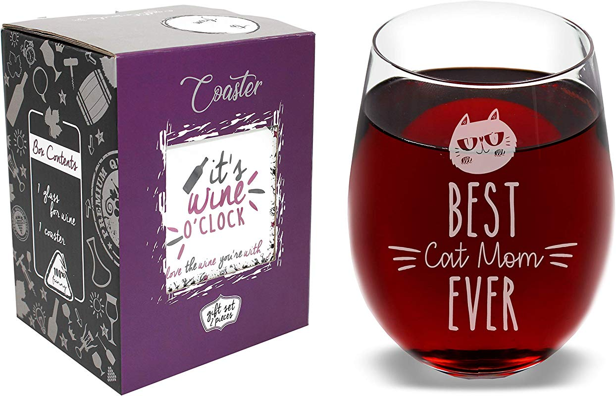 The Mediaholics Best Cat Mom Ever Funny Novelty Stemless Wine Glass Coaster And Gift Box 17 Oz Great Birthday For Girlfriend Wife Mom On Birthday Mothers Day