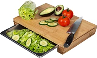 Large Bamboo Cutting Board with Sliding Stainless Steel Tray/Drawer - Easy Food Prep - Natural, Organic, Bamboo
