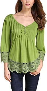 Collocation-Online Womens Lace Patchwork 3 4 Sleeve Shirt V Notch Neck Blouse Pleated Lace Hem Tops Tees
