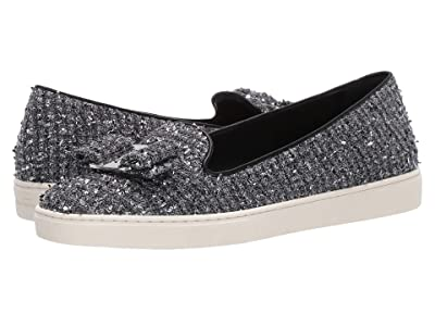 Salvatore Ferragamo Novello Leather Bow Slip-On Sneakers (Black Metallic Tweed) Women