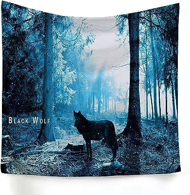 KDENDGGA Bosque De Niebla Azul Lobo Tapiz Moda Colgante De Pared Decoración del Hogar Misterioso para El Dormitorio Decoración del Hogar 200 * 150 Cm: Amazon.es: Hogar