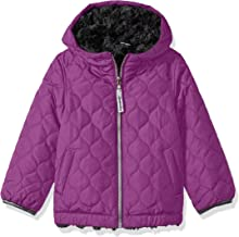 London Fog Girls' Big Reversible Quilted Midweight Jacket, Orchid/Grey, 14/16