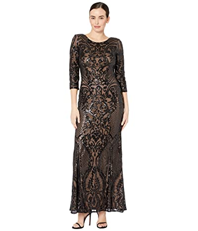 Alex Evenings Long Sequin Fit-and-Flare Dress (Black/Nude) Women