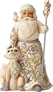Jim Shore Heartwood Creek White Woodland Santa with Fox Stone Resin Figurine, 5.25""