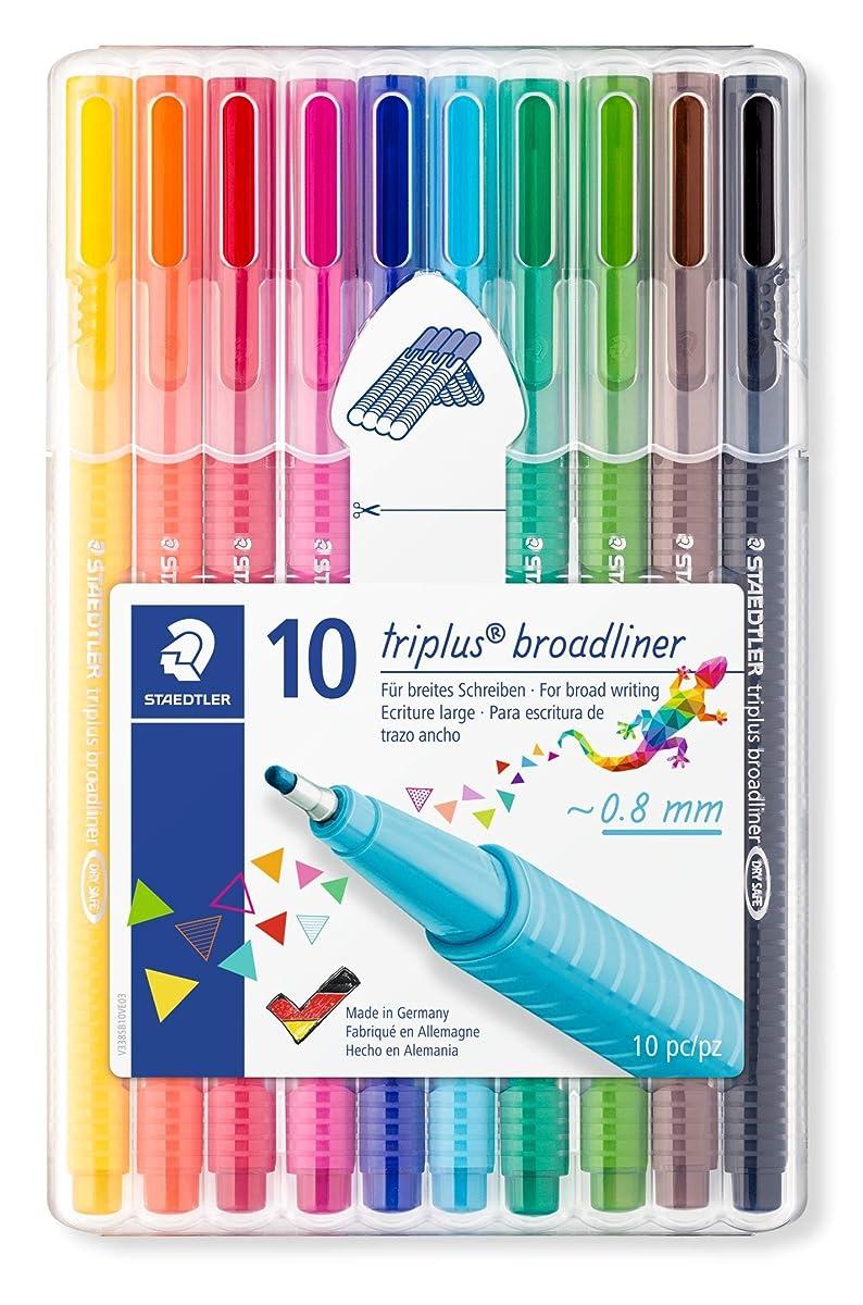 Staedtler Triplus Broadliner Pack of 10 Assorted Colours (338 SB10)
